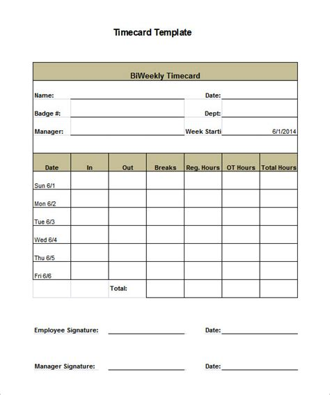 Time Card Excel Template Free Free Timesheet Form