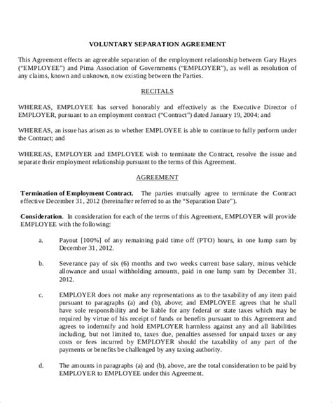sle employment separation agreement 8 documents in pdf word