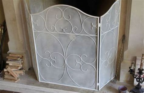 Cream Metal Shabby Chic Fire Screen Guard Fireplace Ebay