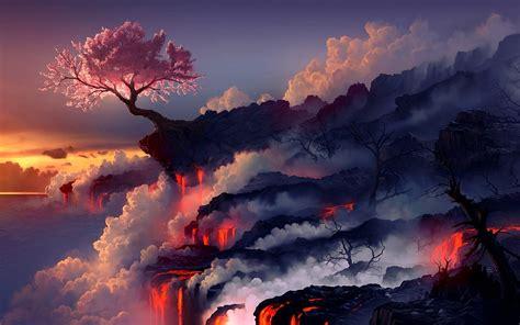 tree resist lava wallpapers hd desktop  mobile
