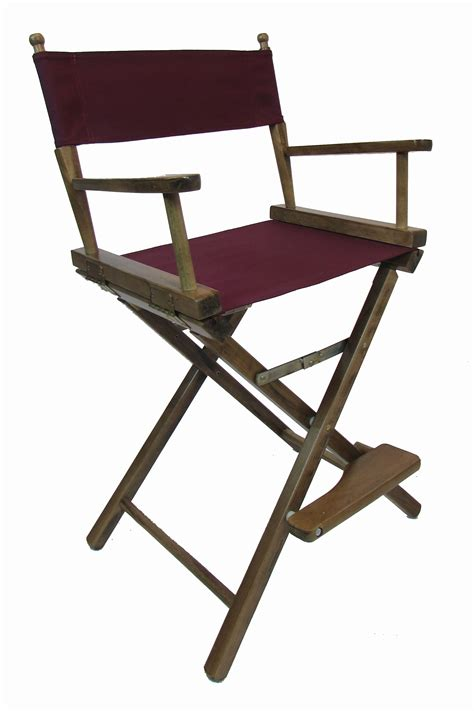 embroidered counter height walnut frame directors chairs
