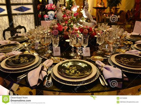 Asian Style Dinner Party, Exotic Table Decoration Stock