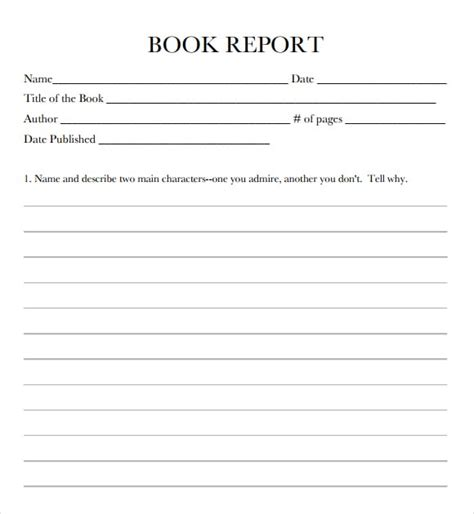book report template 9 free book report templates excel pdf formats