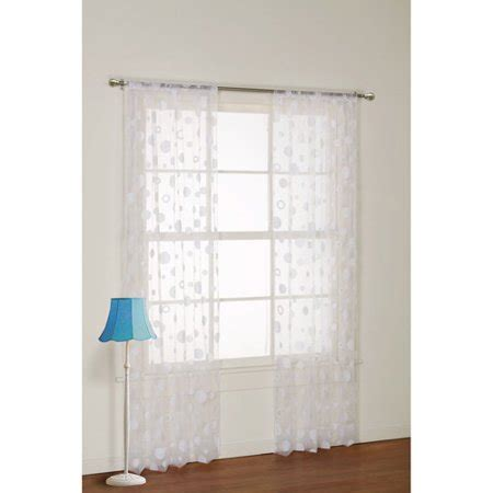 sheer curtains walmart your zone flocked dot sheer bedroom curtain panel