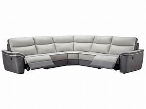 Canapé D Angle Conforama : canap d 39 angle relaxation lectrique 5 places en cuir trevise coloris gris anthracite vente de ~ Teatrodelosmanantiales.com Idées de Décoration