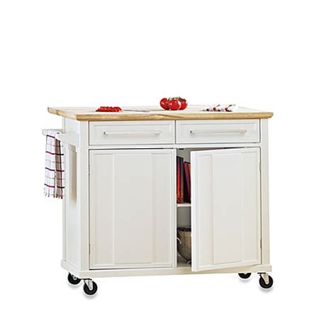 real simple rolling kitchen island  white bed bath