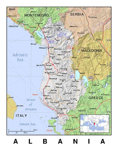 detailed political map  albania  relief albania