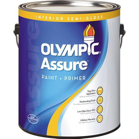 paint and primer in one shop olympic assure tintable semi gloss latex interior paint and primer in one actual net