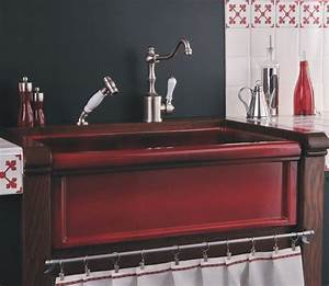 Herbeau Red Boreal Fireclay Farmhouse Sink - Farmhouse