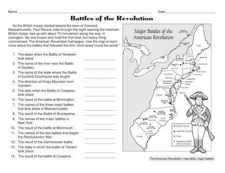 free battles of the american revolution worksheet social