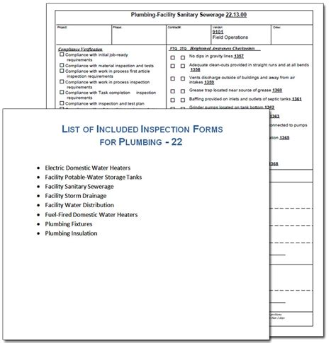 navfac safety forms plumbing inspection form sle