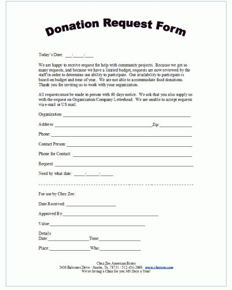 donation form templates  word excel