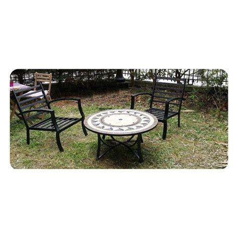 table de jardin basse ronde hawai aspect fer forge