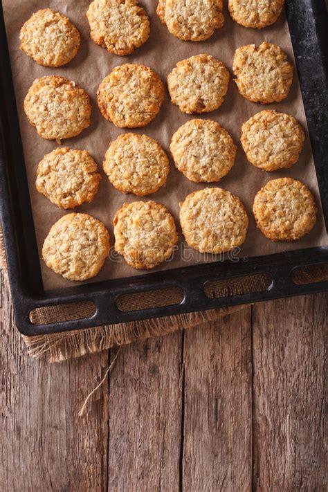 vertical close australian anzac biscuits plate oatmeal baking cookies sheet