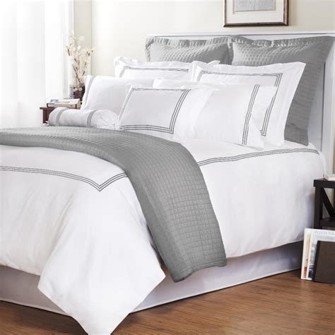 gray and white comforter a heavenly bed a lo and behold