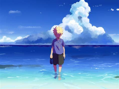 Anime Water Wallpaper - wallpaper sea anime boys water sky calm blue