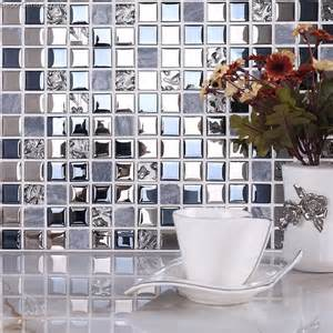 blue silver wall tile blend metal and glass stainless - Stainless Steel Tiles For Kitchen Backsplash