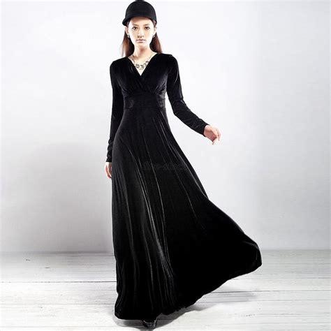Women V Neck Velvet Long Sleeve Swing Dress Cocktail Party Wear Long Maxi Dress   eBay