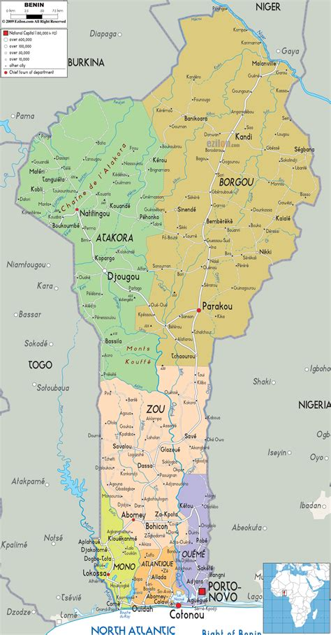 Detailed Political Map of Benin - Ezilon Maps