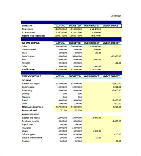 business budget template excel budget spreadsheet template