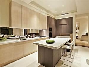 Modern island kitchen design using wood panelling