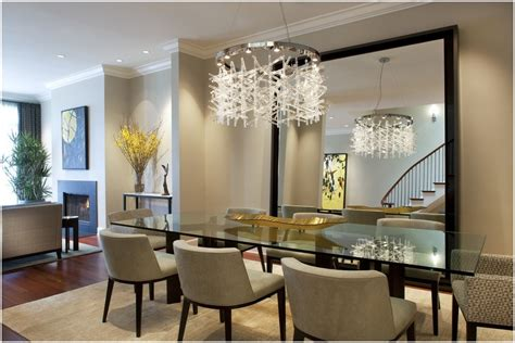 Above Kitchen Cabinet Decorating Ideas - modern mirrors for luxury dining room design with contemporary square rugs under glass table and
