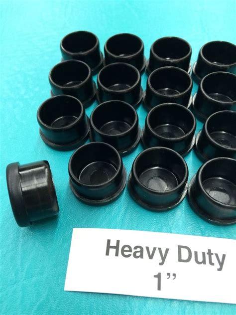 16 plastic black patio chair leg inserts cups 1