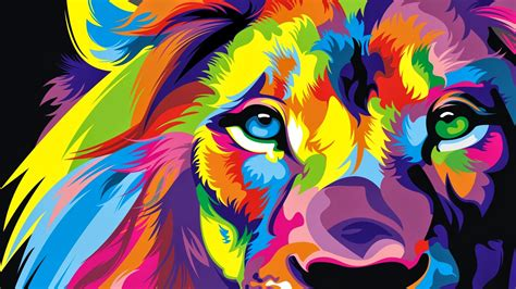 lion colorful artwork wallpapers hd wallpapers id