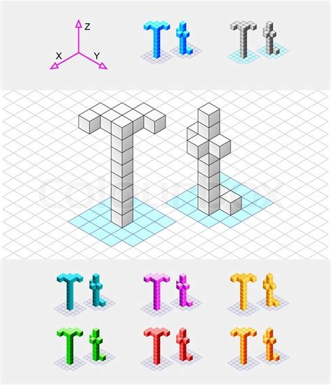 Isometric Font From The Cubesletter T Vector Stock