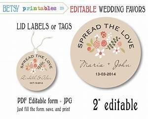 mason jar wedding favor for jam editable tags editable With jam lid labels