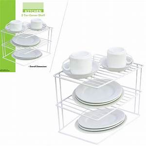2, Tier, Corner, Shelf, Counter, Cabinet, Organizer, Kitchen, Storage, Rack, Dishes