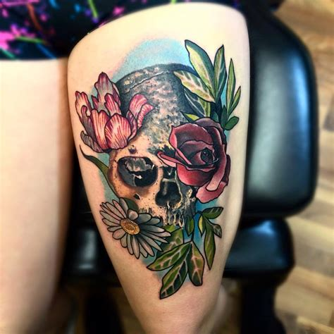 water color skull  flower tattoo  thigh blurmark