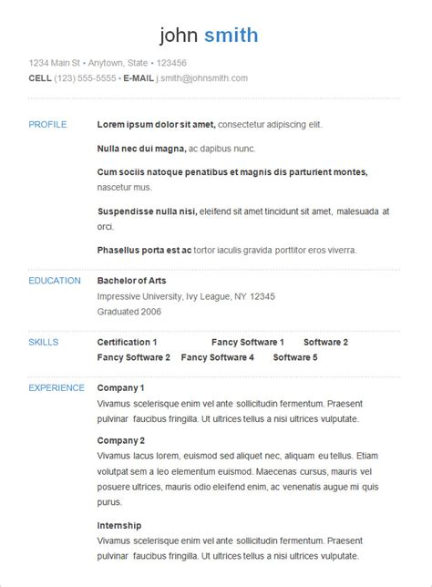 simple resume template basic resume template 51 free sles exles format