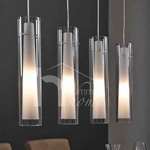 Luminaire 3 Suspensions : luminaire suspension design en nickel chrom verre yona 4 lampes luminaire pinterest ~ Teatrodelosmanantiales.com Idées de Décoration