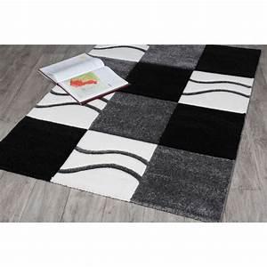 tapis noir et blanc manil 115 x 160 achat vente tapis With tapis blanc noir