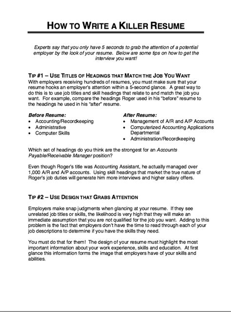 How To Write A Resume For Free by How To Write A Killer Resume Http Resumesdesign