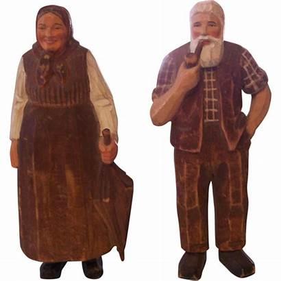 Carved Hand Forest Bavarian Folk Figures Wooden