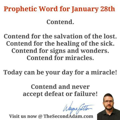 January 28 Daily Prophetic Word Of God  The Second Adam