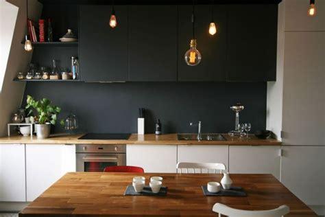 Cuisine blanche plan de travail bois - inspirations de du00e9co