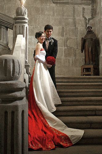 east meets west modern chinese wedding dress  red