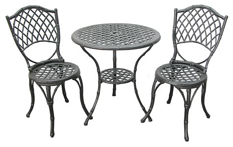 patio furniture bistro set cast aluminum iron black bamboo