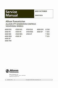 Allison Transmission 4000 Series Vocational Models 4000evs  4000hs  4000mh  4000rds  4000sp