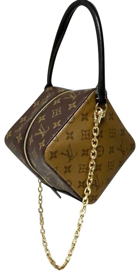 louis vuitton reverse square brown monogram canvas cross body bag tradesy