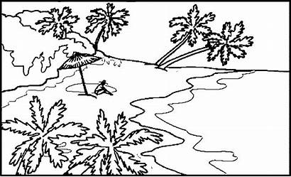Coloring Landscape Pages Scenery Realistic Spring Nature