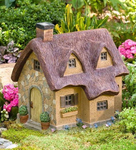 resin thatched cottage garden fairies gnomes