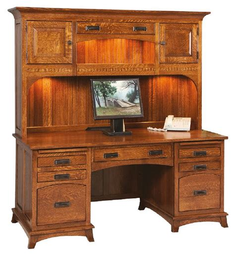 Desk With Hutch Top by Amish Mt Eaton Mission Executive Desk With Hutch Top
