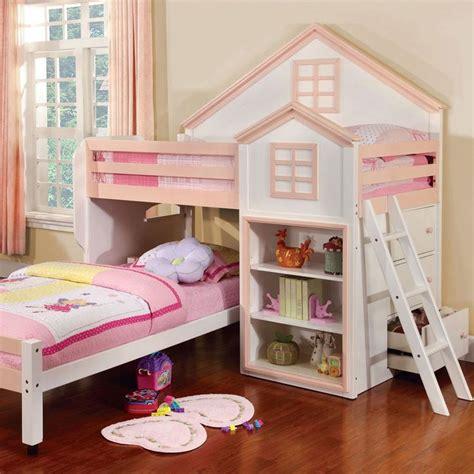 bunk beds with citadel house design dual size loft bed set un