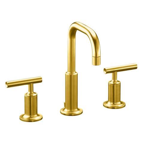 designer bathroom faucets shop kohler purist vibrant modern brushed gold 1 handle