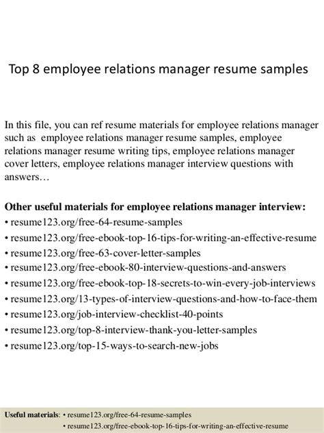 Labor Relations Description Resume by Top 8 Employee Relations Manager Resume Sles