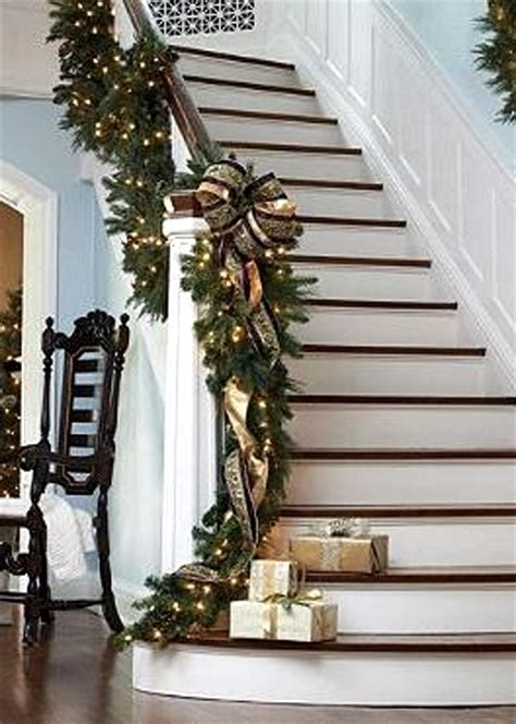 lighted garland for staircase christmas staircase decorating ideas pink lover